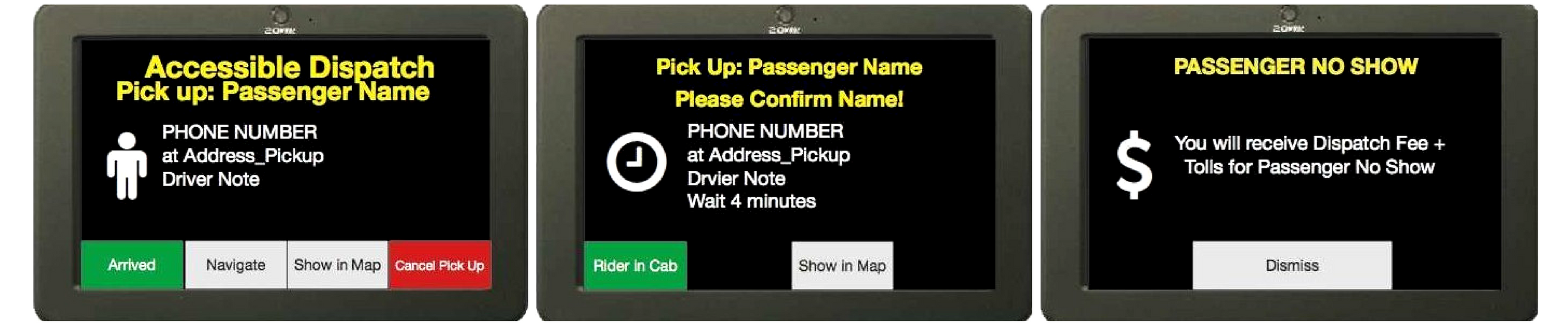 Accessible Dispatch TPEP/LPEP Device use and steps for drivers to click