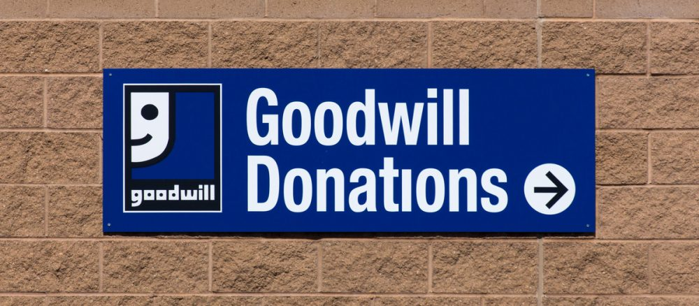 Goodwill donations sign