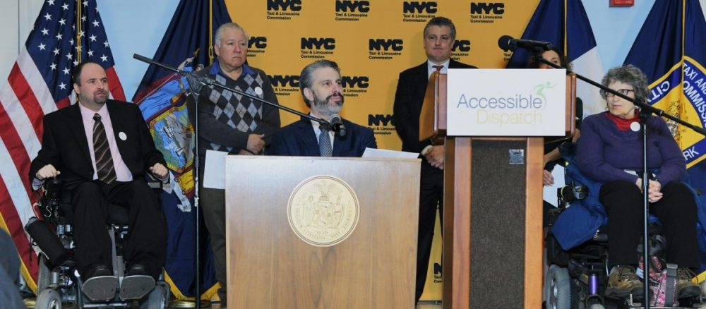 Victor Calise, Commissioner, Mayor's Office for People with Disabilities, speaks at Accessible Dispatch Press Conference