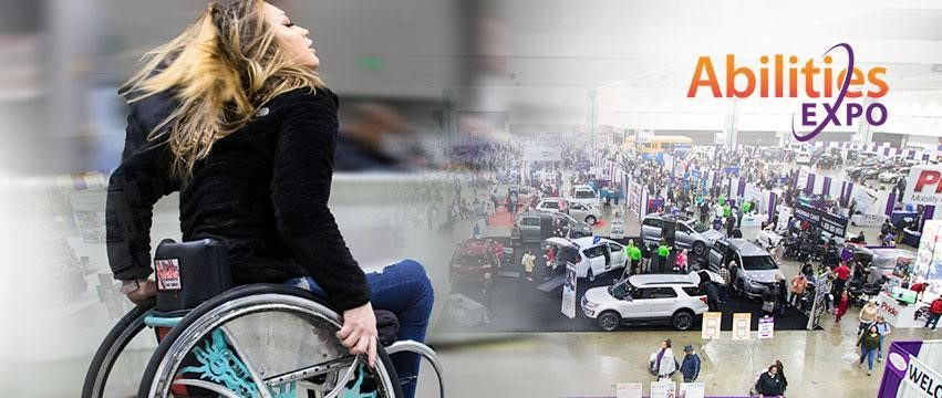 Abilities Expo promotional image with a wheelchair user in the photo