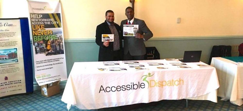 Ken Deveaux and Steven Williams, Community Outreach Reps for the Accessible Dispatch NYC Program, displaying flyers at Senior Health Expo